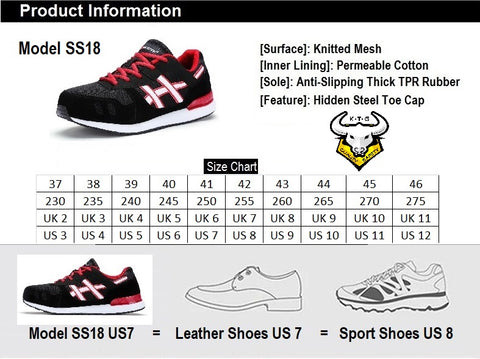 KTG Safety Model SS18 - Black Steel Toe Safety Shoes Shoe Size Conversion Chart, UK, US, Singapore and EUROPE size