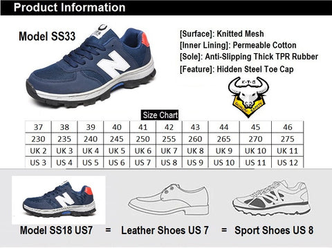 Size chart for KTG (KaiTheGent) steel toe & steel sole sports safety work shoes SS33