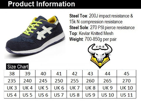 KTG Safety Steel Toe Slip On Sports Safety Shoes Model SS17 Blue Size Chart. Asian, Japan, UK, US, Singapore, Ladies and Mens sizes available