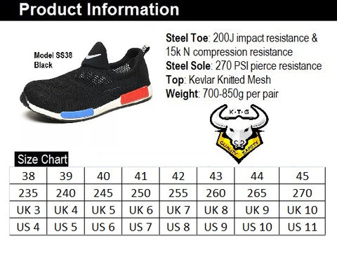 KTG Safety Steel Toe Slip On Sports Safety Shoes Model SS38 Size Chart. Asian, Japan, UK, US sizes available