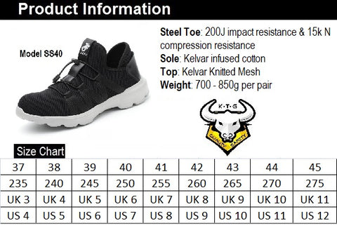 KTG Safety Steel Toe Slip On Sports Safety Shoes Model SS40 Size Chart. Asian, Japan, UK, US sizes available