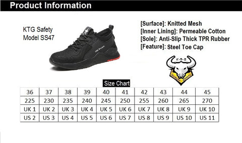 KTG Safety Steel Toe Kevlar Sole Sports Safety Shoes Model SS47 Size Chart. Asian, Japan, UK, US sizes available