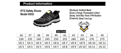 KTG Steel Toe Safety Shoes Steel Sole Model SS52 Black Size Chart