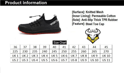 KTG Safety Steel Toe Slip On Sports Safety Shoes Model SS42 Size Chart. Asian, Japan, UK, US sizes available