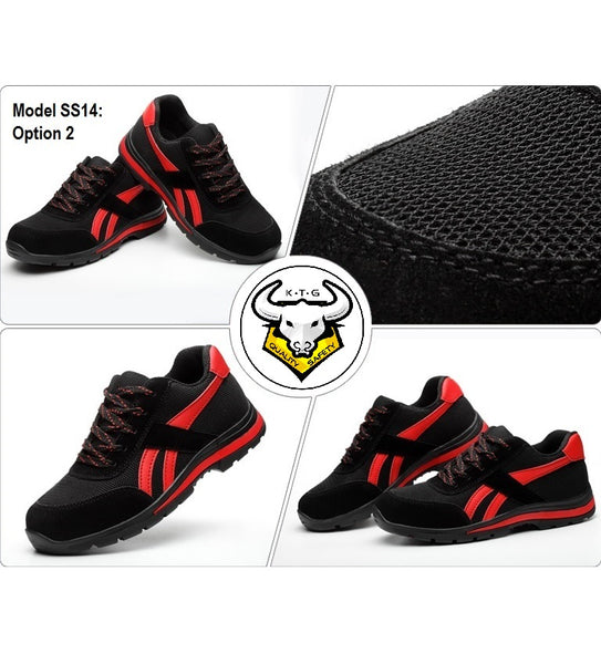 K.T.G (KaiTheGent) steel toe safety work shoes model SS14 - Option 2 Knitted Mesh Black Red from all angles.