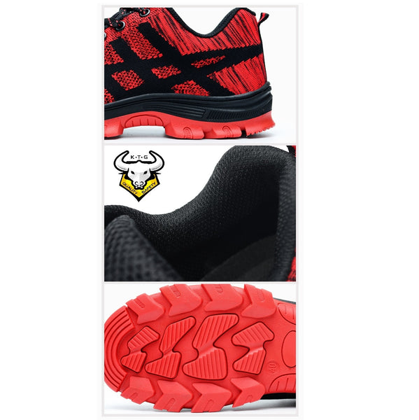 K.T.G Safety Shoes Model SS20 Stylish Red detailed features. Knitted mesh and anti slip sole.