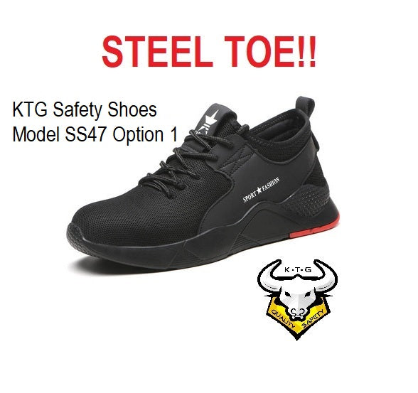KTG Safety Steel Toe Sports Safety Shoes Model SS47 Option 1 - Knitted Mesh Black - Red Sole - Kevlar anti smash