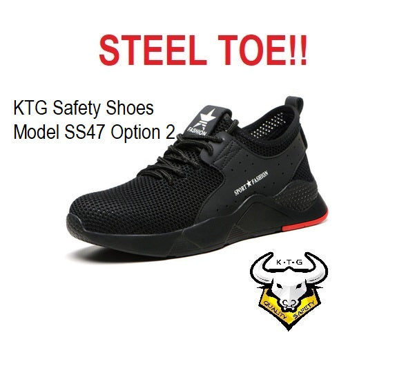 KTG Safety Steel Toe Sports Safety Shoes Model SS47 Option 2 - Breathable Mesh Black - Red Sole - Kevlar anti smash
