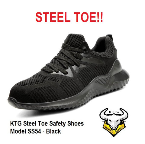 KTG Safety Steel Toe Sports Safety Shoes Model SS54 - Knitted Mesh Black - Rubber anti slip Sole - Kevlar anti smash