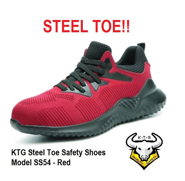KTG Safety Steel Toe Sports Safety Shoes Model SS54 - Knitted Mesh Red - Rubber anti slip Sole - Kevlar anti smash