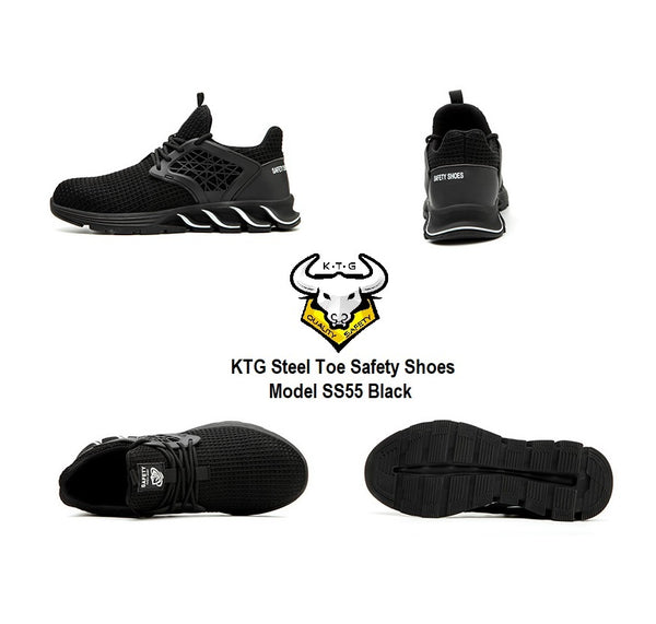 Model showing off KTG Safety Steel Toe Sports Safety Shoes Model SS55 - Knitted Mesh Black all angle view