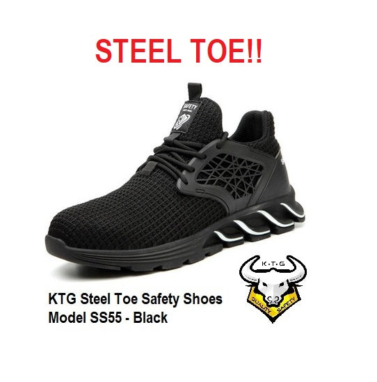 KTG Safety Steel Toe Sports Safety Shoes Model SS55 - Knitted Mesh Black - Rubber anti slip Sole - Kevlar anti smash