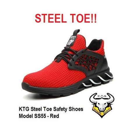 KTG Safety Steel Toe Sports Safety Shoes Model SS55 - Knitted Mesh Red - Rubber anti slip Sole - Kevlar anti smash