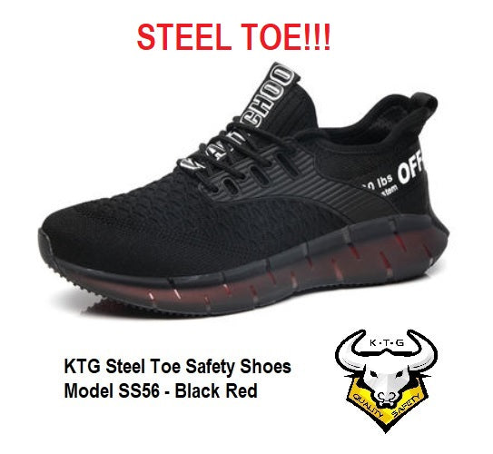 KTG Safety Steel Toe Sports Safety Shoes Model SS56 - Knitted Mesh Black Red - Rubber anti slip Sole - Kevlar anti smash - Singapore East