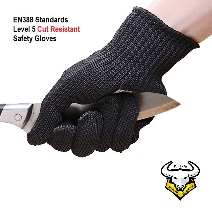 KTG Safety Gloves Cut Resistant Anti Cut EN388 Grade 5 Certified Black SG01. Steel Woven Technology. For distribution in Singapore and Malaysia.