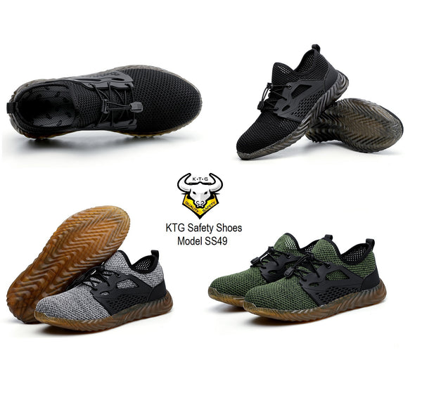 Model wearing KTG Safety Steel Toe Sports Safety Shoes Model SS49 - Knitted Mesh Black Sole - Kevlar anti smash display from all angles