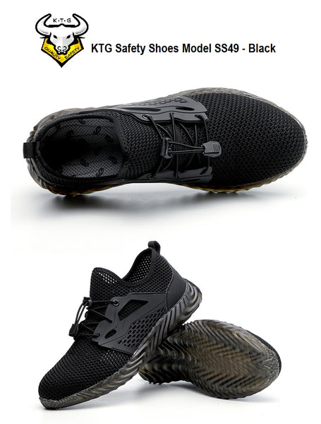 KTG Safety Steel Toe Sports Safety Shoes Model SS49 - Knitted Mesh Black Sole - Kevlar anti smash display top and side view