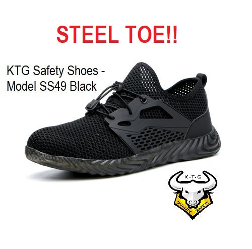 KTG Safety Steel Toe Sports Safety Shoes Model SS49 - Knitted Mesh Black - Rubber anti slip Sole - Kevlar anti smash