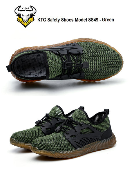 KTG Safety Steel Toe Sports Safety Shoes Model SS49 - Knitted Mesh Green Sole - Kevlar anti smash display top and side view