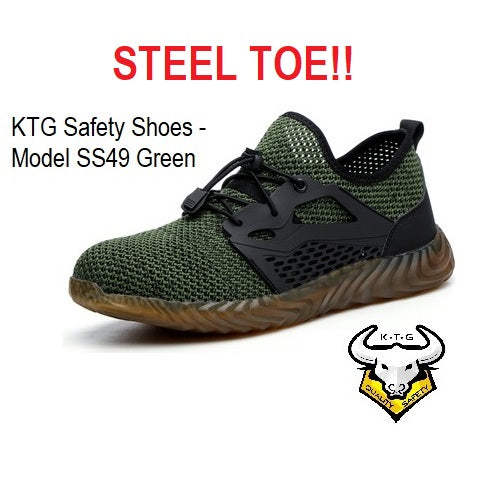 KTG Safety Steel Toe Sports Safety Shoes Model SS49 - Knitted Mesh Green - Rubber anti slip Sole - Kevlar anti smash