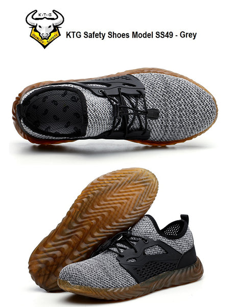 KTG Safety Steel Toe Sports Safety Shoes Model SS49 - Knitted Mesh Grey Sole - Kevlar anti smash display top and side view