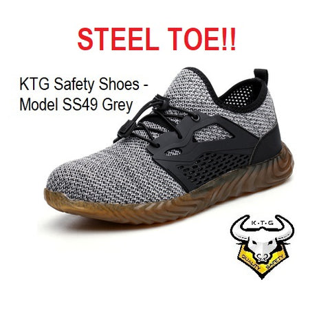 KTG Safety Steel Toe Sports Safety Shoes Model SS49 - Knitted Mesh Grey - Rubber anti slip Sole - Kevlar anti smash