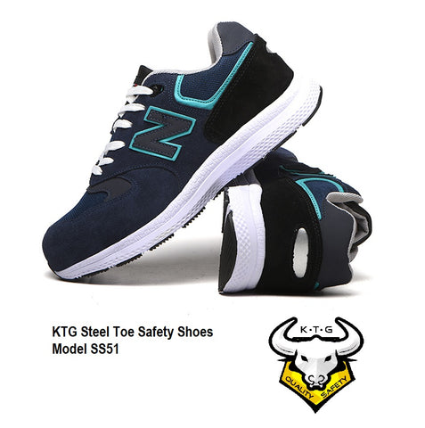 KTG Safety Steel Toe Sports Safety Shoes Model SS51 - Nylon Blue New Balance - Rubber anti slip Sole - Kevlar anti smash protection