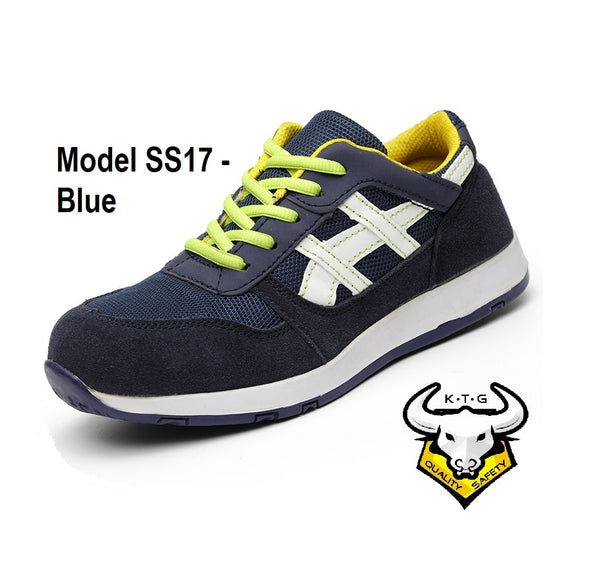 KTG Safety Steel Toe Steel Sole Plate Sports Safety Shoes Model SS17 - Blue, US, UK, EU, Asia, Mens, Ladies, Singapore Sizes available