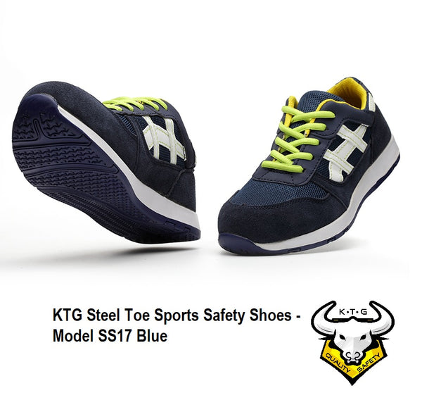 KTG Safety Steel Toe Steel Sole Plate Sports Safety Shoes Model SS17 - Blue, US, UK, EU, Asia, Mens, Ladies, Singapore Sizes. Image showing the soles