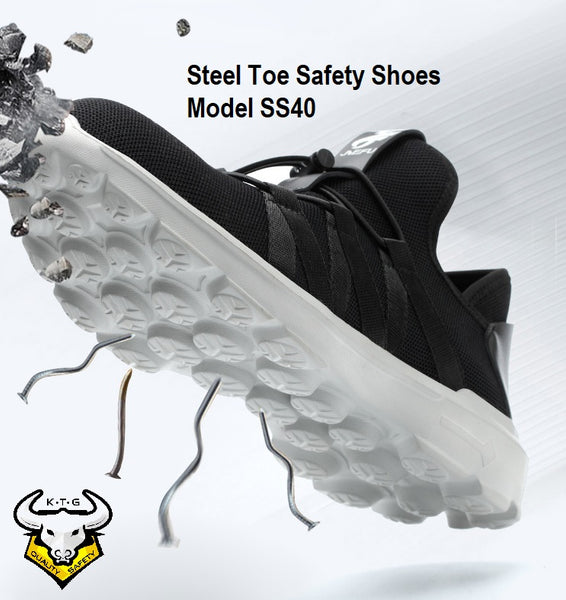 KTG Safety Steel Toe Sports Safety Shoes Model SS40 - Knitted Mesh Black - Kelvar anti smash - Anti Slip Sole Design Display