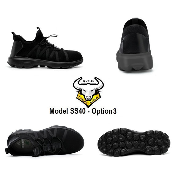 All Angle Details Display of KTG Safety Steel Toe Sports Safety Shoes Model SS40 - Knitted Mesh Black - Black Sole - Kelvar anti smash