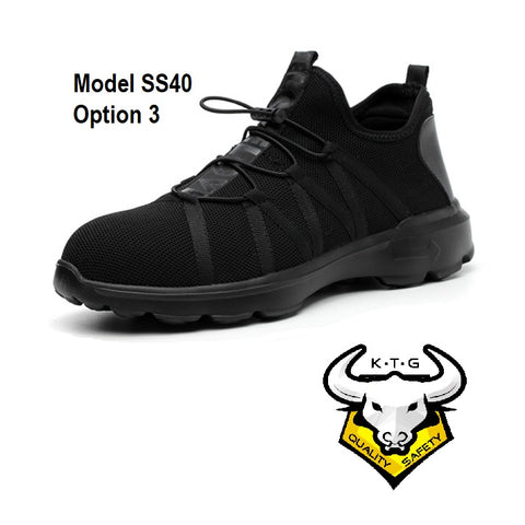 KTG Safety Steel Toe Sports Safety Shoes Model SS40 - Knitted Mesh Black - Black Sole- Kelvar anti smash