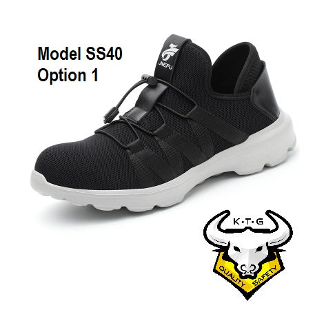 KTG Safety Steel Toe Sports Safety Shoes Model SS40 - Knitted Mesh Black - White Sole - Kelvar anti smash