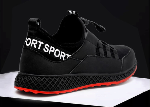 KTG Safety Steel Toe Sports Safety Shoes Model SS42 - Knitted Mesh Black Red Sole - Kevlar anti smash - Anti Slip Sole Back View