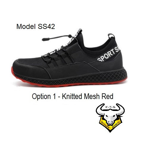 KTG Safety Steel Toe Sports Safety Shoes Model SS42 - Knitted Mesh Black - Red Sole - Kevlar anti smash