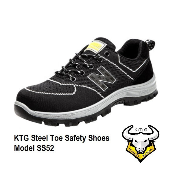 KTG Safety Steel Toe Steel Sole Sports Safety Shoes Model SS52 - Nylon Black New Balance - Rubber anti slip Sole - anti smash protection