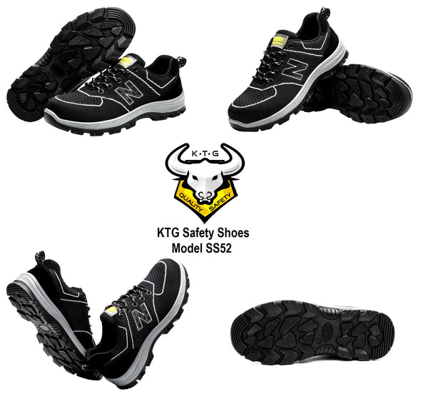 Model wearing KTG Safety Steel Toe Sole Sports Safety Shoes Model SS52 Nylon Black New Balance Rubber Sole - anti smash pierce display from all angles