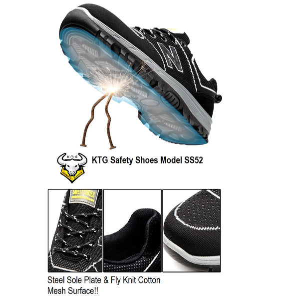 Close up detailed view KTG Safety Steel Toe Sports Safety Shoes Model SS52 Nylon Black New Balance Rubber Sole - Steel Sole Plate anti smash pierce display from all angles