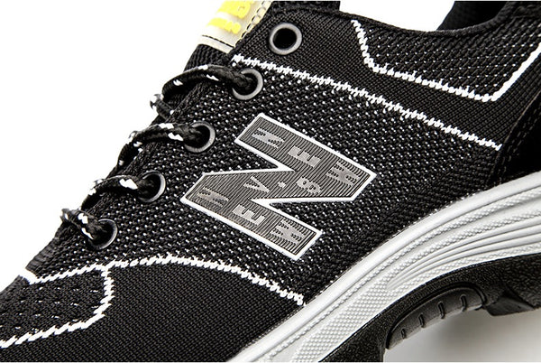 Close up detailed view of Knitted Mesh Surface KTG Safety Steel Toe Sports Safety Shoes Model SS52 Nylon Black New Balance Rubber Sole - Steel Sole Plate anti smash pierce
