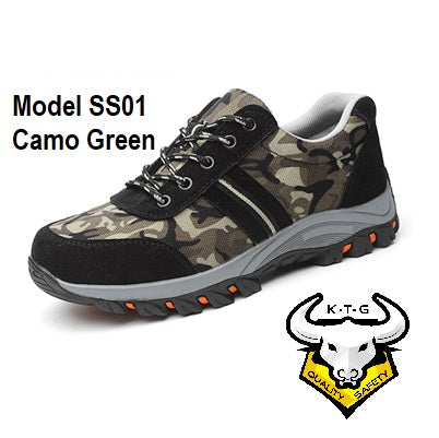 KTG (KaiTheGent) steel toe safety work shoes SS01 - Camo Green