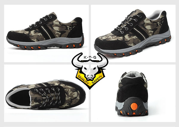 KTG steel toe safety work shoes / boots SS01 - Camo Green from different angles.
