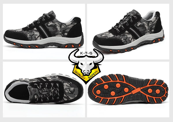 K.T.G steel toe safety work shoes / boots SS01 - Camo White from different angles.