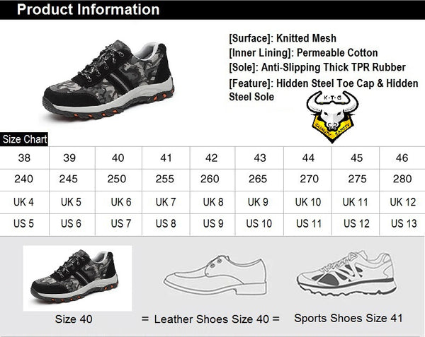 Size chart for model SS01 - Camo Green KTG (KaiTheGent) Steel Toe Safety Shoes. UK, US, EU and Singapore Size available.