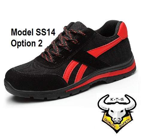 KTG (KaiTheGent) steel toe sports safety work shoes model SS14 - option 2 Knitted Mesh Black Red.