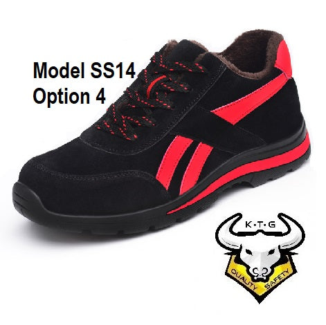 KTG (KaiTheGent) steel toe sports safety work shoes model SS14 - option 4 Suede Black Red Winter Version with fur lining. Single Side.