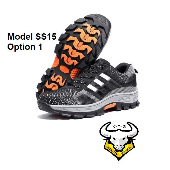 Detailed image for steel toe sports safety work shoes model SS15 - option 1. Black reflective stripes.