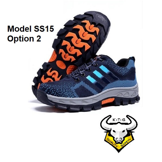Detailed image for steel toe sports safety work shoes model SS15 - option 2. Blue reflective stripes.