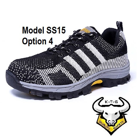 Detailed image for KTG (KaiTheGent) steel toe sports safety work shoes model SS15 - option 4. Black non-reflective stripes. Single Side. K.T.G