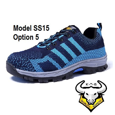 Detailed image for KTG (KaiTheGent) steel toe sports safety work shoes model SS15 - option 5. Blue non-reflective stripes. Single Side. K.T.G