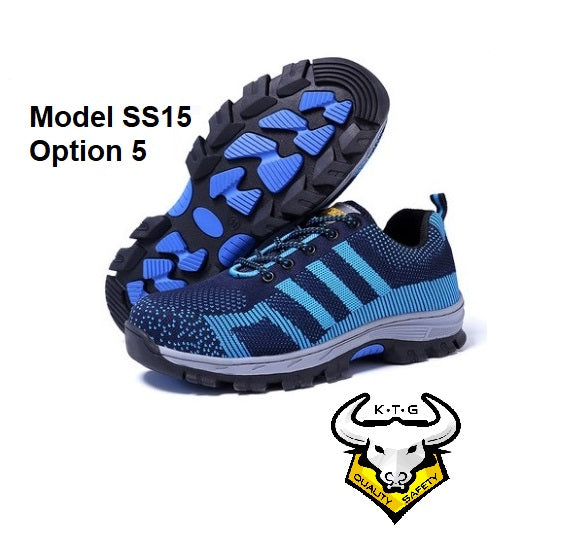 Detailed image for KTG (KaiTheGent) steel toe sports safety work shoes model SS15 - option 5. Blue non reflective stripes with soles. K.T.G